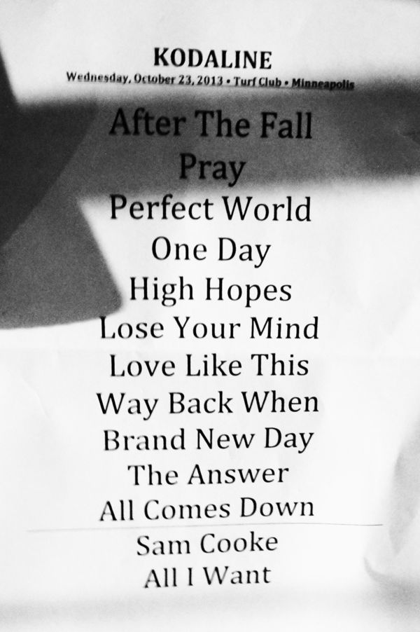 Lyric high hope lyrics glen hansard : Kodaline at The Turf Club, St. Paul (10/23/13) concert review - W♥M