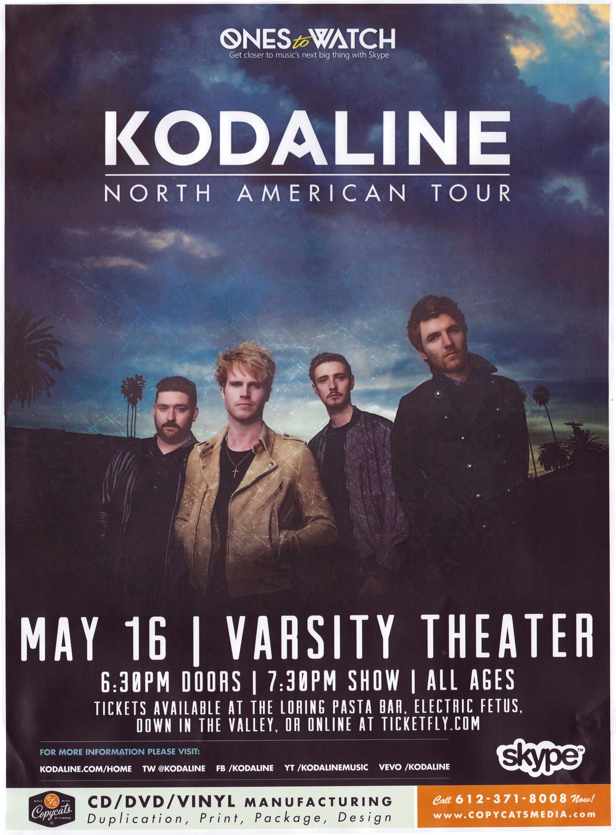 Kodaline at the Varsity Theater Minneapolis May W M